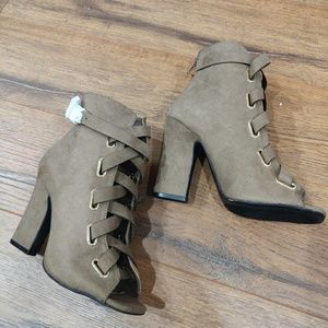 Taupe Peep Toe Lace up Ankle Booties